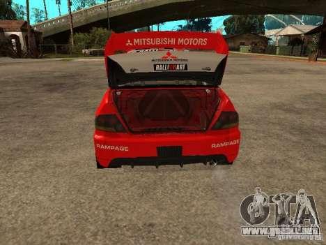 Mitsubishi Lancer Evo IX DiRT2 para vista inferior GTA San Andreas