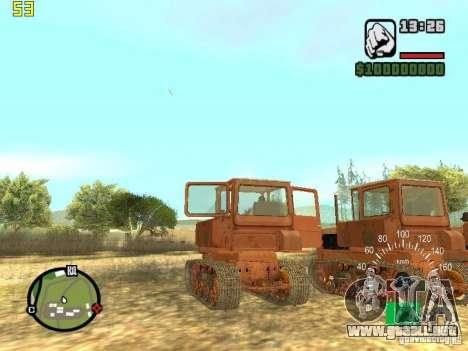 Tractor DT-75 cartero para GTA San Andreas vista hacia atrás