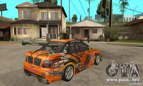 Subaru Impreza D1 WRX Yukes Team Orange para la visión correcta GTA San Andreas
