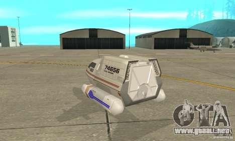 Shuttle-NCC-74656 para GTA San Andreas vista posterior izquierda