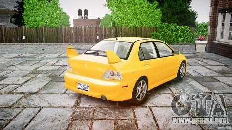 Mitsubishi Lancer Evolution VIII para GTA 4 Vista posterior izquierda