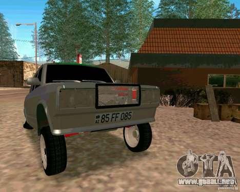 VAZ 2107 completo para GTA San Andreas vista hacia atrás