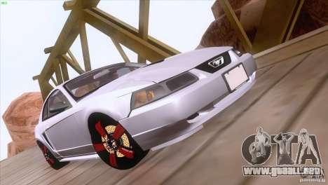 Ford Mustang GT 1999 para la vista superior GTA San Andreas