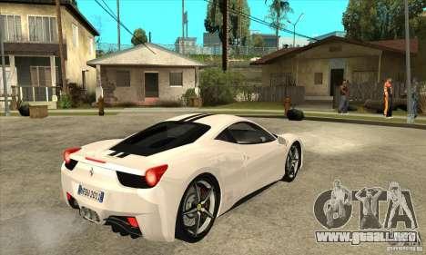Ferrari 458 Italia 2010 v2.0 para la visión correcta GTA San Andreas