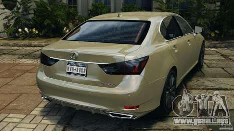 Lexus GS350 2013 v1.0 para GTA 4 Vista posterior izquierda
