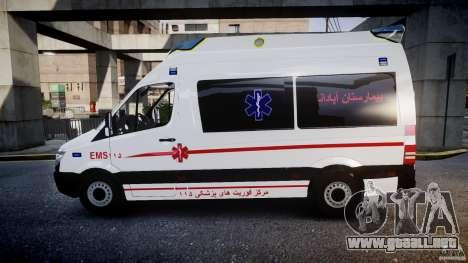 Mercedes-Benz Sprinter Iranian Ambulance [ELS] para GTA 4 left