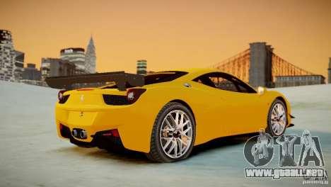 Ferrari 458 Challenge 2011 para GTA 4 vista hacia atrás