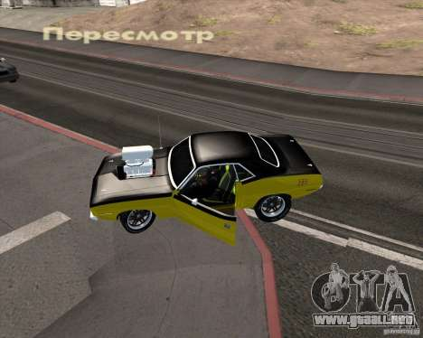 Plymouth Hemi Cuda 440 para la vista superior GTA San Andreas