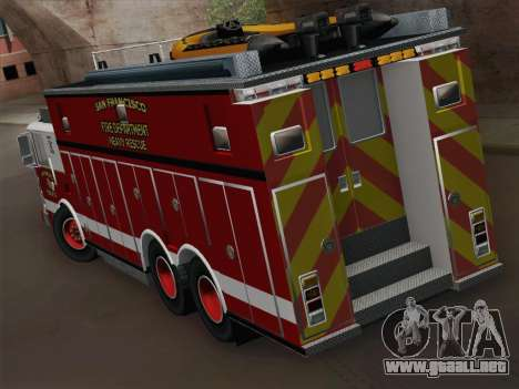 Pierce Walk-in SFFD Heavy Rescue para la visión correcta GTA San Andreas