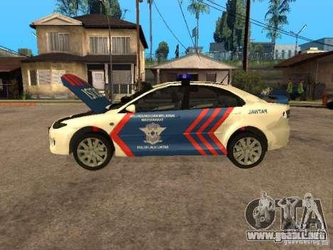Mazda 6 Police Indonesia para GTA San Andreas vista hacia atrás
