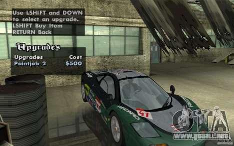 Mclaren F1 road version 1997 (v1.0.0) para visión interna GTA San Andreas