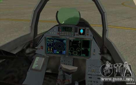 Su-35 BM v2.0 para GTA San Andreas vista hacia atrás