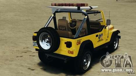 Jeep Wrangler 1988 Beach Patrol v1.1 [ELS] para GTA 4 Vista posterior izquierda