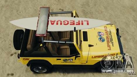 Jeep Wrangler 1988 Beach Patrol v1.1 [ELS] para GTA 4 visión correcta