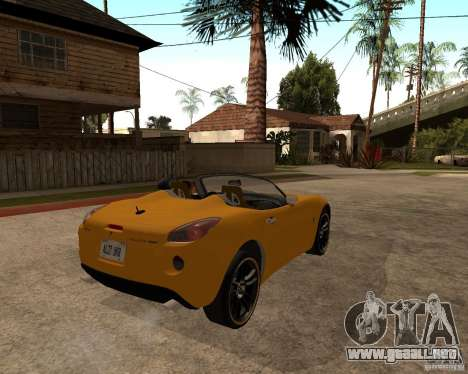 Pontiac Solstice GXP para GTA San Andreas vista posterior izquierda