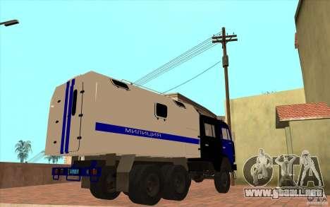 Policía Kamaz para GTA San Andreas vista hacia atrás