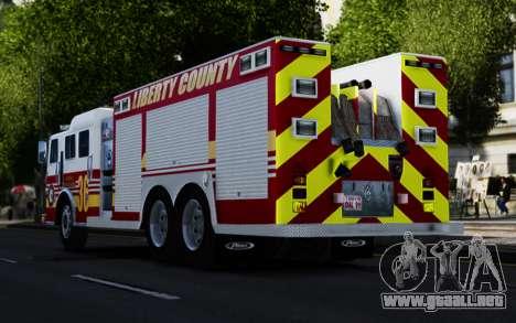 Pierce Heavy Rescue Pumper V1.4 para GTA 4 Vista posterior izquierda