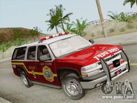 Chevrolet Suburban SFFD para la visión correcta GTA San Andreas