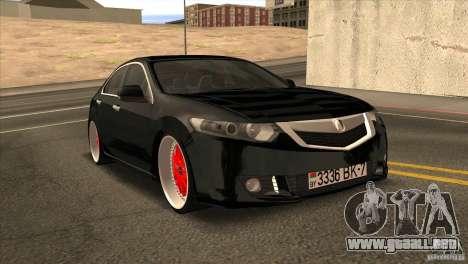 Acura TSX Doxy para GTA San Andreas vista hacia atrás