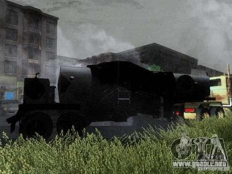 Remolque blindado combustible Mack Truck Titan para GTA San Andreas vista hacia atrás