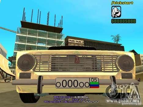 VAZ 2102 oro para visión interna GTA San Andreas