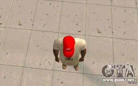 Rojo brillante Puma Cap para GTA San Andreas tercera pantalla