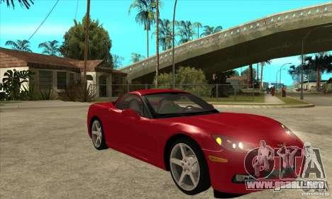 Chevrolet Corvette C6 Z51 - Stock para GTA San Andreas vista hacia atrás