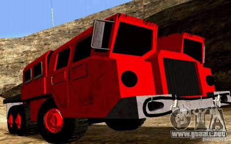 Versión estrecha Civil MAZ-7310 para GTA San Andreas vista hacia atrás