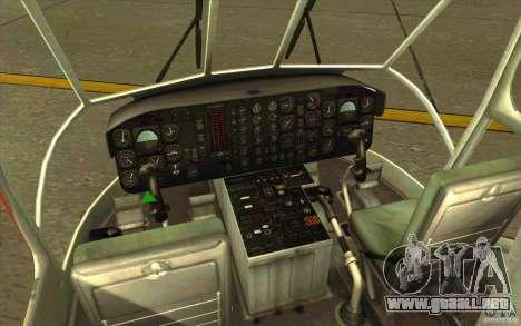 Sikorsky Air-Crane S-64E para visión interna GTA San Andreas