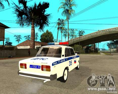 Vaz 2105 DPS para GTA San Andreas vista posterior izquierda