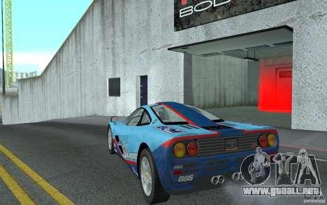 Mclaren F1 road version 1997 (v1.0.0) para GTA San Andreas vista posterior izquierda