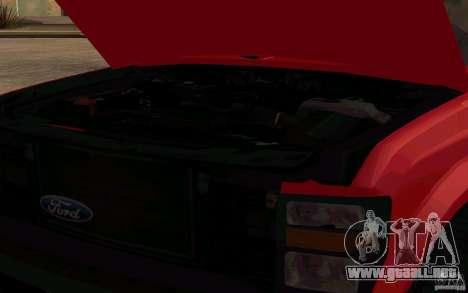 Ford F250 Super Dute para GTA San Andreas vista hacia atrás