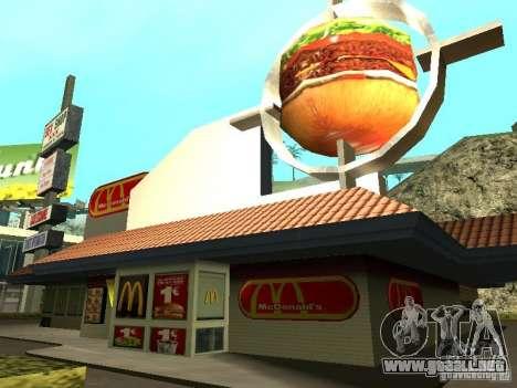 Mc Donalds para GTA San Andreas novena de pantalla