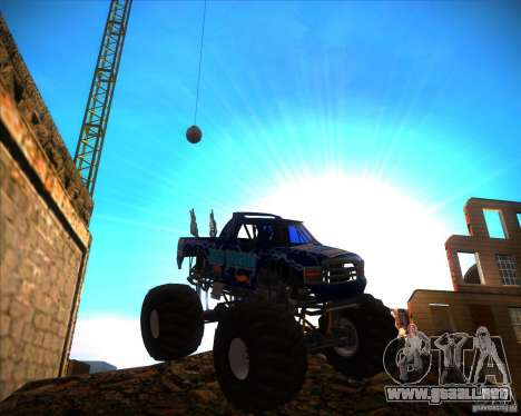 Monster Truck Blue Thunder para GTA San Andreas vista hacia atrás