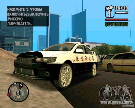 Mitsubishi Lancer EVO X Japan Police para la visión correcta GTA San Andreas