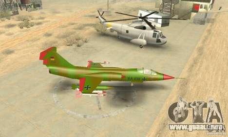 F-104 Starfighter Super (verde) para la visión correcta GTA San Andreas