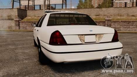 Ford Crown Victoria Unmarked ELS para GTA 4 Vista posterior izquierda