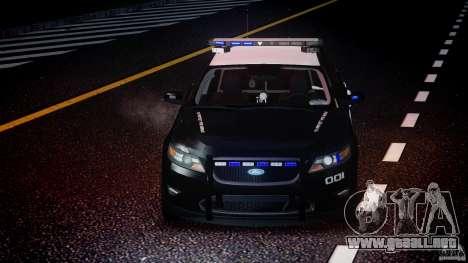 Ford Taurus Police Interceptor 2011 [ELS] para GTA 4 vista desde abajo