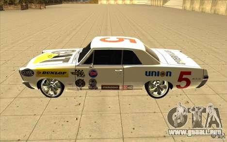 Pontiac GTO 1965 NFS Pro Street con vinilos nuev para el motor de GTA San Andreas