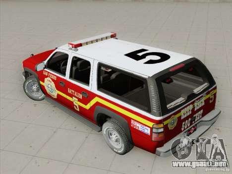 Chevrolet Suburban SFFD para la vista superior GTA San Andreas