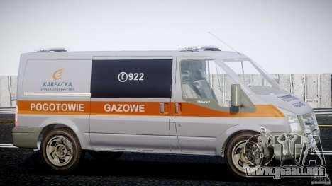 Ford Transit Usluga polski gazu [ELS] para GTA 4 vista hacia atrás