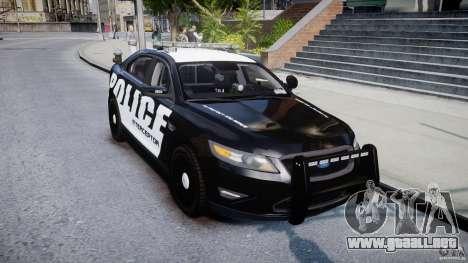 Ford Taurus Police Interceptor 2011 [ELS] para GTA 4 vista hacia atrás