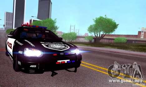 Subaru Impreza WRX STI Police Speed Enforcement para GTA San Andreas vista posterior izquierda
