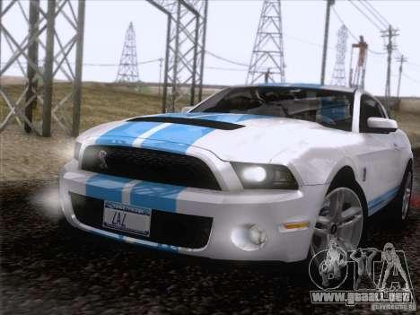 Ford Shelby Mustang GT500 2010 para vista inferior GTA San Andreas