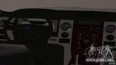 Ford F-150 Platinum Final 2013 para GTA San Andreas vista hacia atrás