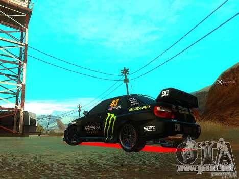 Subaru Impreza Gymkhana Practice para GTA San Andreas vista posterior izquierda