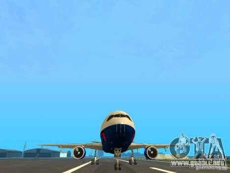 McDonell Douglas DC10 British Airways para GTA San Andreas vista hacia atrás