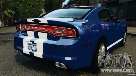 Dodge Charger Unmarked Police 2012 [ELS] para GTA 4 Vista posterior izquierda