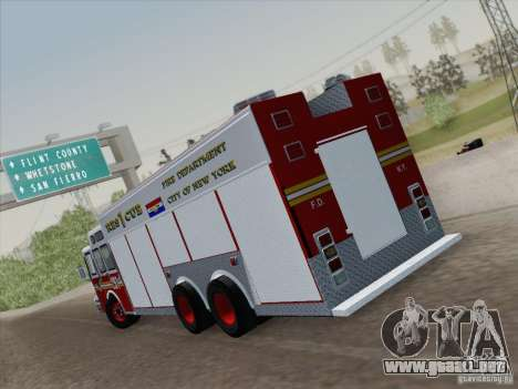 E-One F.D.N.Y Fire Rescue 1 para GTA San Andreas vista posterior izquierda