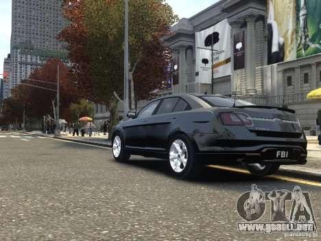 Ford Taurus FBI 2012 para GTA 4 Vista posterior izquierda